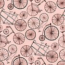 Monochrome Vintage Bicycles on Coral Pink  by TigaTiga