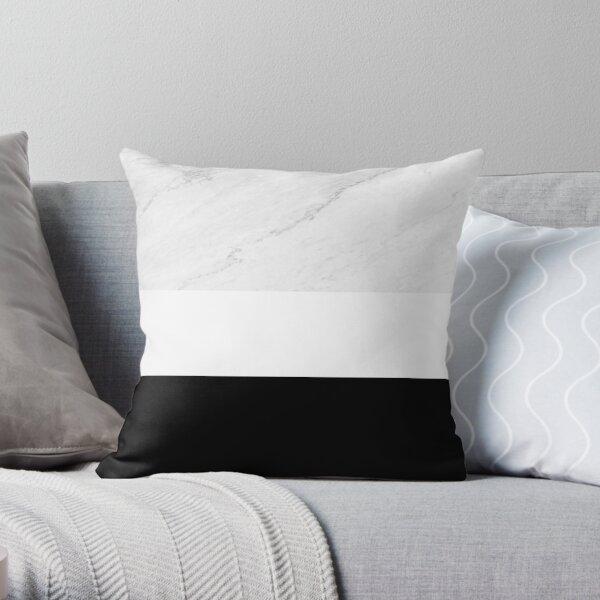 Marmorschwarz-weiße Farbblock-moderne Geometrie Dekokissen