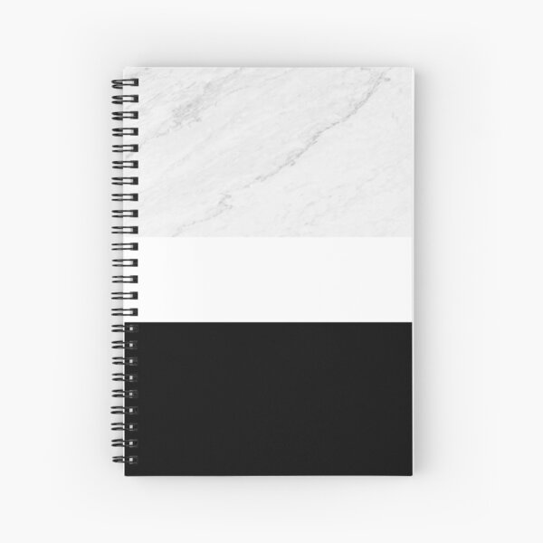 Marble Black White Color Block Modern Geometry Spiral Notebook