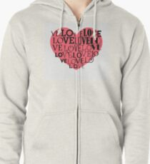 Heart background Zipped Hoodie