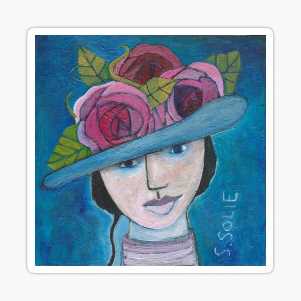 Victorian Woman with Hat  Sticker