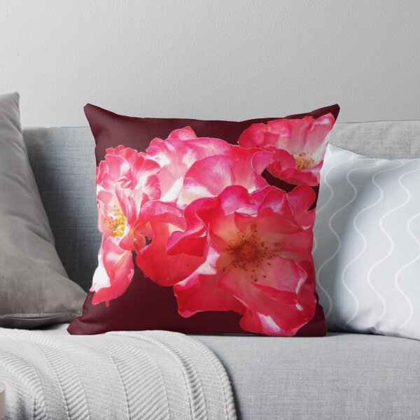 Burgundy Roses - Marjorie Fair Throw Pillow