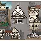 Inkwork Fantasy Structures (in colour) by glynnseal