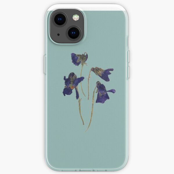 Violetter Posy auf Entenei-Blau iPhone Flexible Hülle