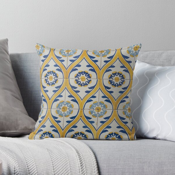 Painted Patterns - Azulejo Tiles in Blue and Yellow Throw Pillow