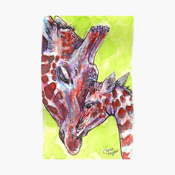 Giraffe Mom and Baby Poster
