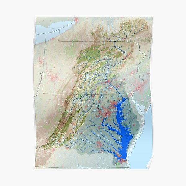Chesapeake Bay Watershed Map - Modified Landscape Poster