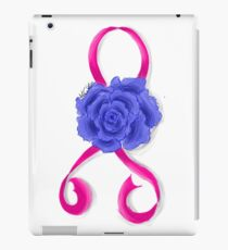 Breast Cancer Awareness Ribbon and Rose iPad Case/Skin