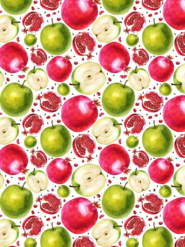 Watercolor pattern. Pomegranate and apple. by margo-soleil