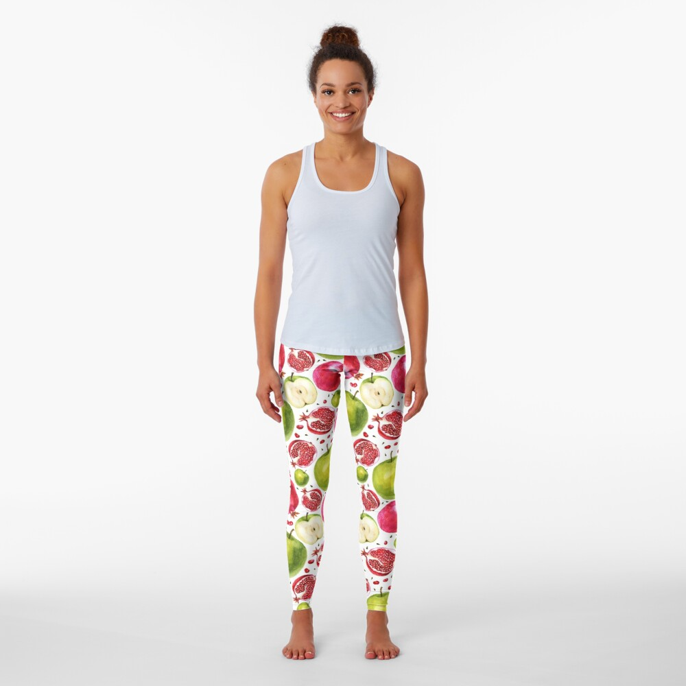 Watercolor pattern. Pomegranate and apple. Leggings