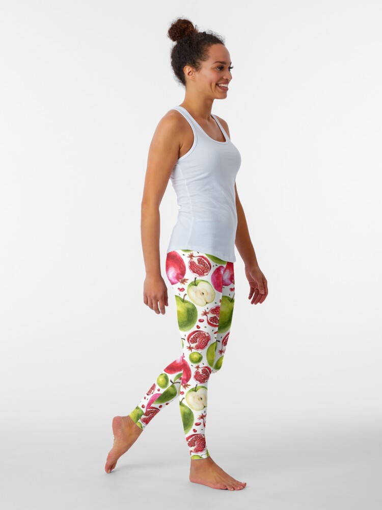 Alternate view of  Watercolor pattern. Pomegranate and apple. Leggings