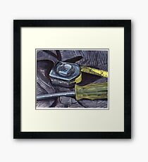 Tape Measure and Screwdriver Framed Print