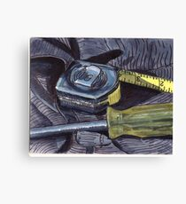 Tape Measure and Screwdriver Canvas Print