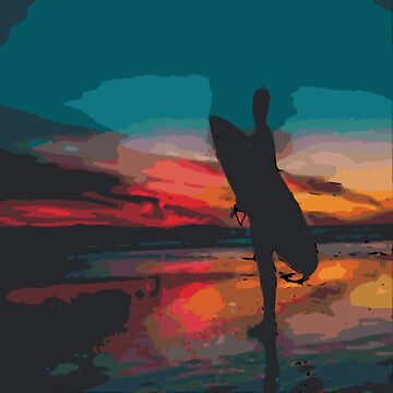 Sunset Surfer On Shore by GypseaDesigns