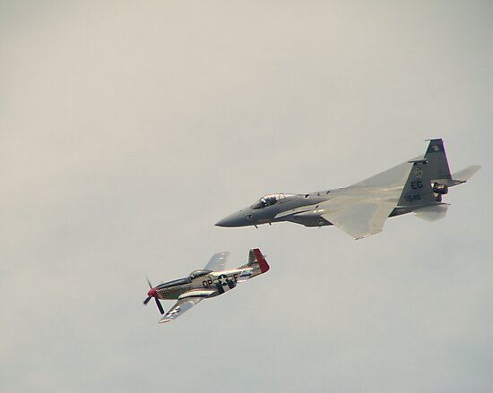 P-51 Mustang and F-15 Eagle in close formation by TeeMack