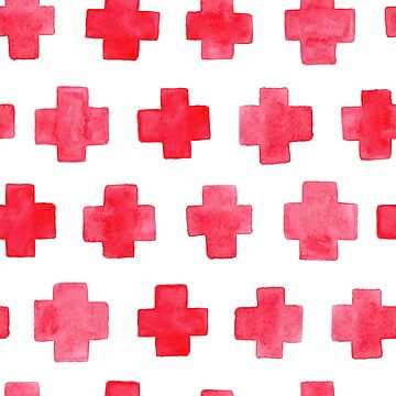 Watercolor Crosses Red Pattern by nastybo