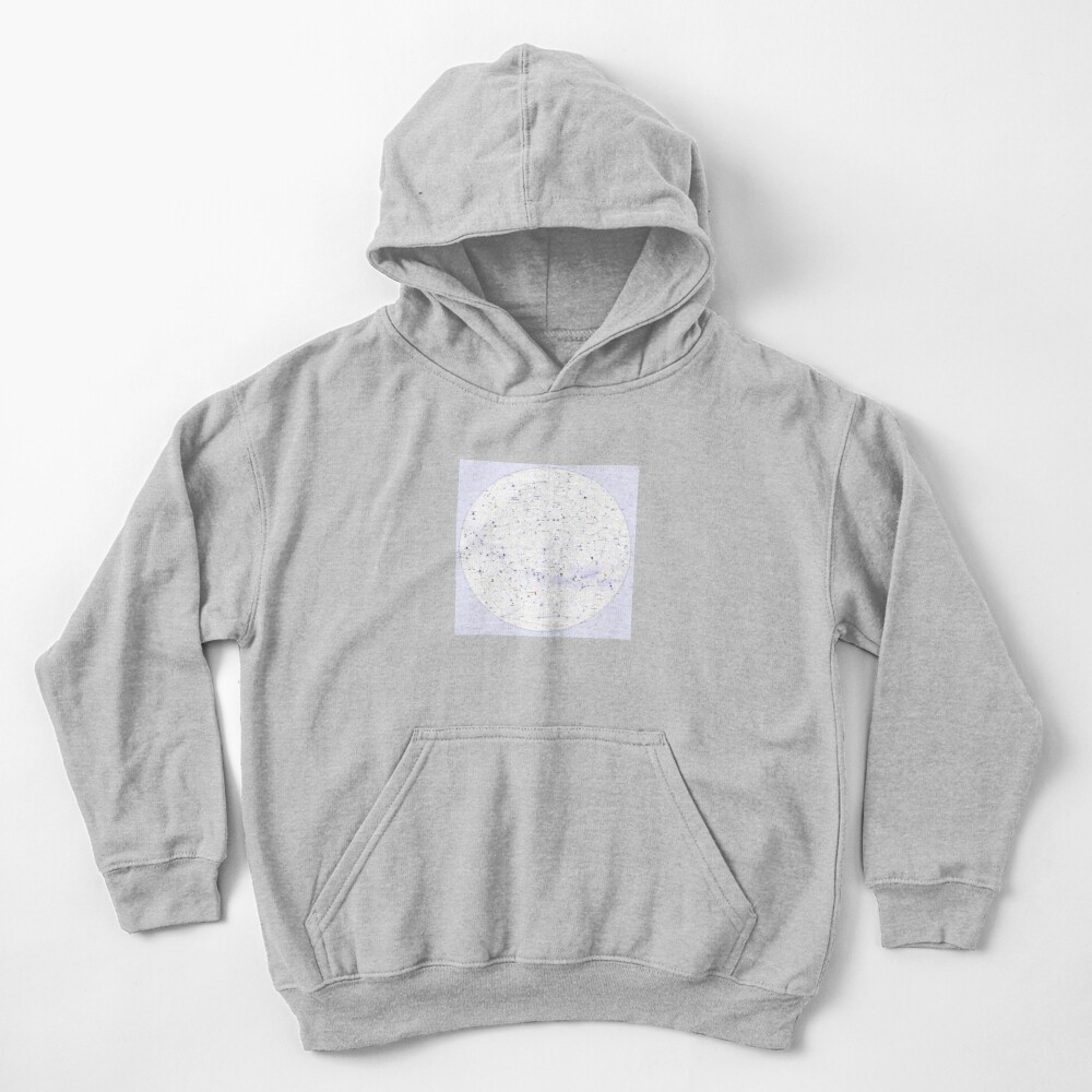 Constellation Map, ssrco,kids_hoodie,youth,heather_grey,flatlay_front,square,1000x1000-bg,f8f8f8