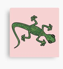 Green Gecko with pattern Canvas Print