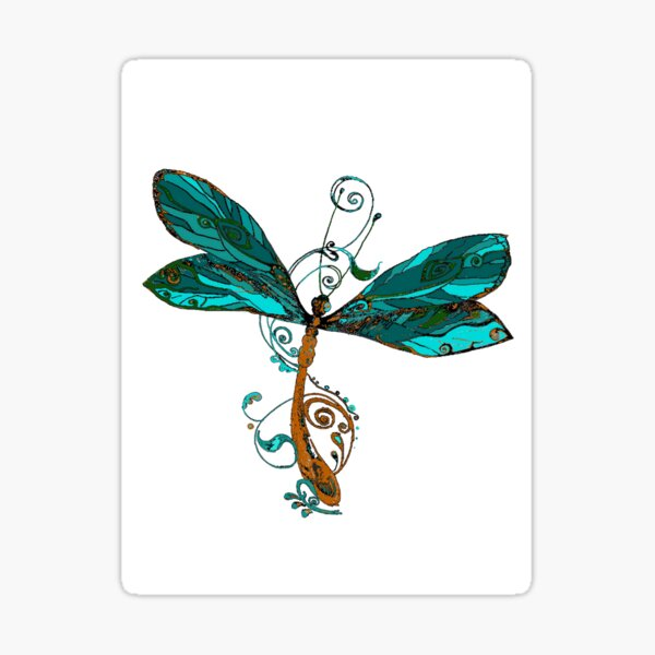 Aqua Blue Watercolor Dragonfly Sticker