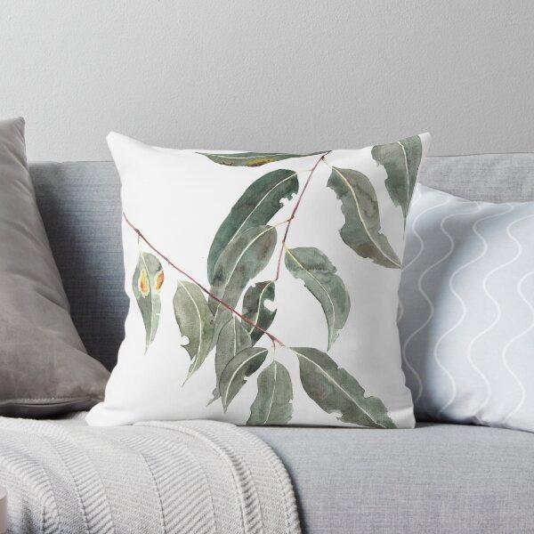 Gum leaves watercolour Australian native Throw Pillow