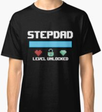 Stepdad Gift Level Unlocked New Stepfather Gamer Anniversary Classic T-Shirt