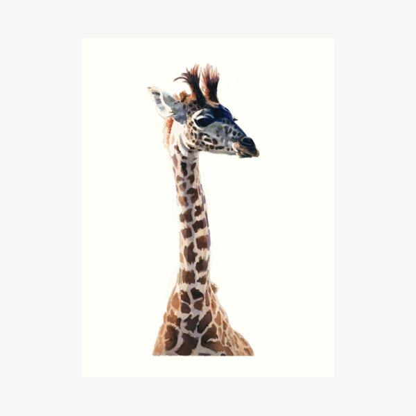 """Little Giraffe"" Wildlife Animal Watercolor Art Print"