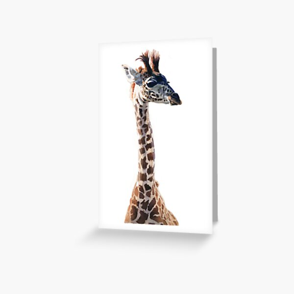 """Little Giraffe"" Wildlife Animal Watercolor Greeting Card"