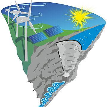 Solar Wind Water Renewable Energy Gift Men Woman T Shirt by dereinst