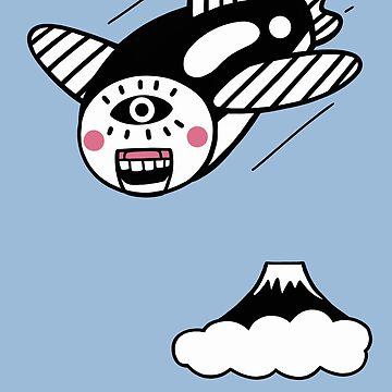 flying fish and Mt.Fuji by RYURAKUDO