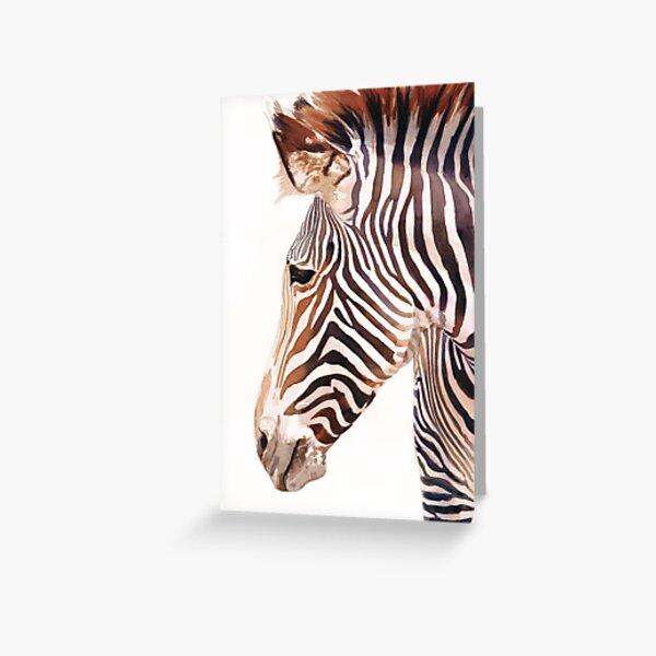 """Zebra Bust"" Zebra Wildlife Watercolor Greeting Card"
