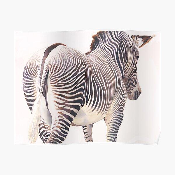 """""""Wrong Way"""" Zebra Wildlife Watercolor Poster"""