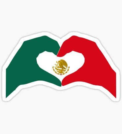 We Heart Mexico Patriot Flag Series  Glossy Sticker