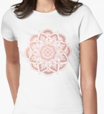 Flower Rose Gold Mandala Women's Fitted T-Shirt