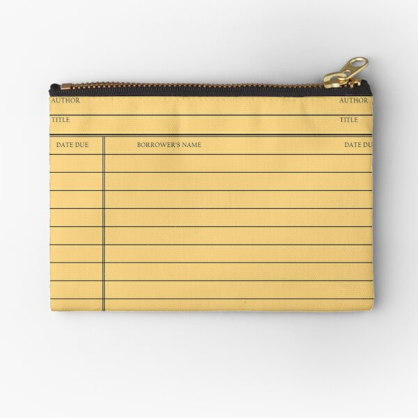 Vintage Library Card - Yellow Gold Zipper Pouch