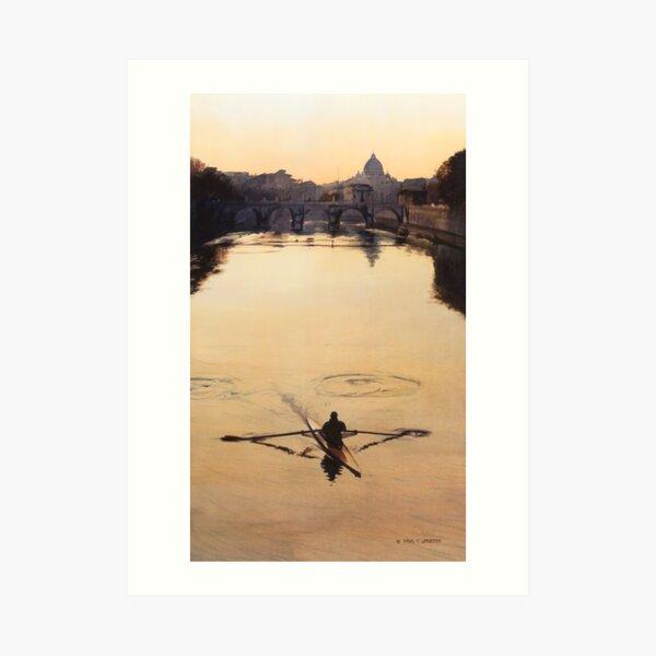 """The Oarsman"" Tiber River Watercolor Art Print"