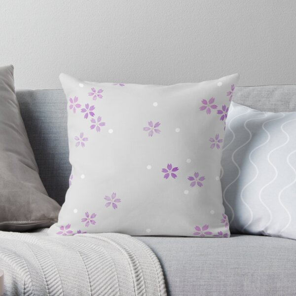 Cherry Blossoms in Violet Throw Pillow