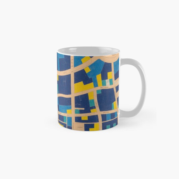 Map of Shaugnessy in blue and gold Classic Mug