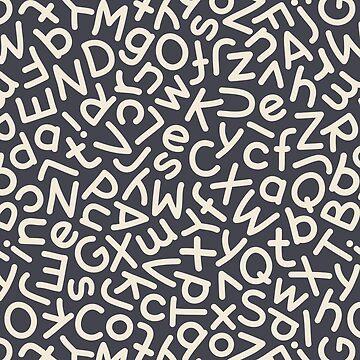 Hand Drawn Mix Letters Seamless Pattern Dark by Voysla