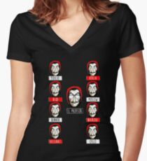 El Profesor - Papel Women's Fitted V-Neck T-Shirt