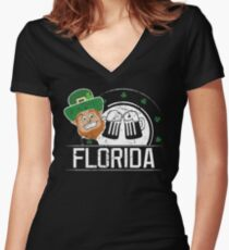 Womens St Pattys Day Florida St Patricks Birthday Women's Fitted V-Neck T-Shirt