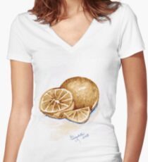 Oranges in autumn Women's Fitted V-Neck T-Shirt