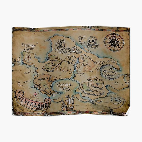 Neverland carte millésime Poster