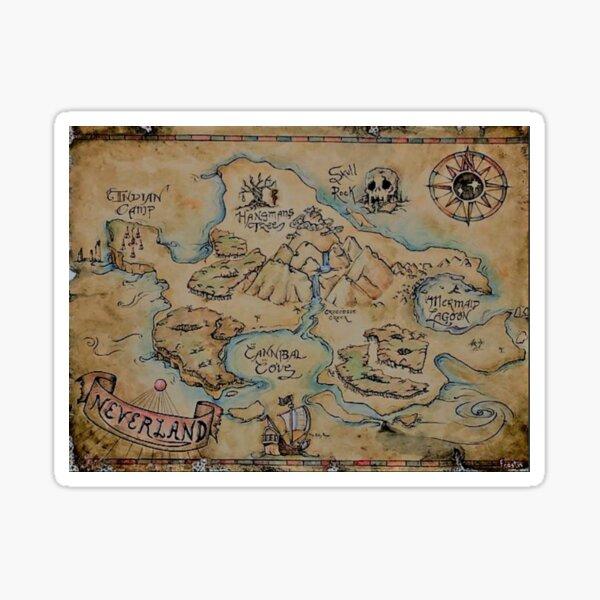 Mapa de Neverland vintage Pegatina