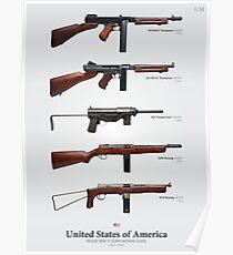World War II Submachine Guns of the United States Poster