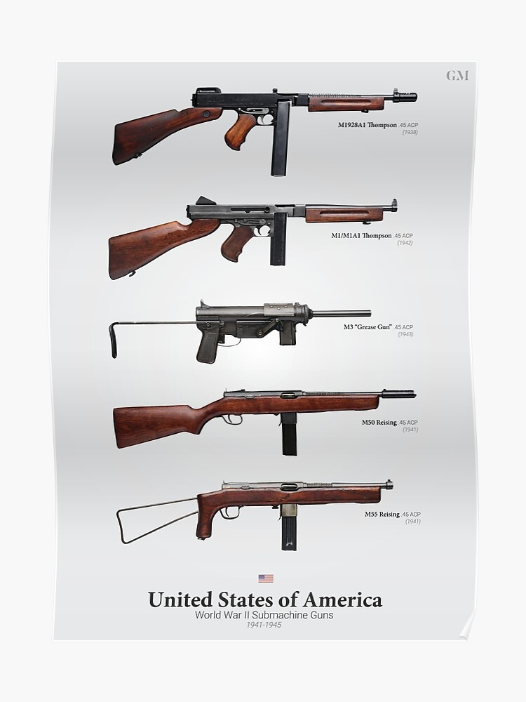 World War II Submachine Guns of the United States | Poster