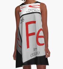 Chemical element tile. Fe. Iron. Cubed. A-Line Dress