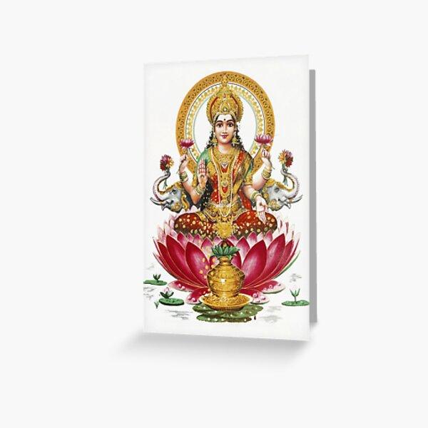 Hindu Goddess Lakshmi Hinduism Buddhism Meditation Religion Greeting Card
