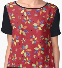 Spring Leaves with Spots on Red Chiffon Top