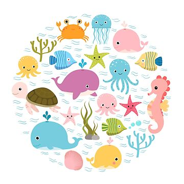 Cute sea animals - fish, whales, crab, seahorse and other creatures by Pravokrugulnik