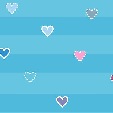 Cute nice small hearts with dots on striped background by eszadesign